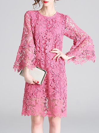 Rose Red Shift Daily Casual Guipure Lace Midi Dress