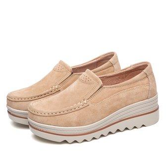 Leather Casual Flat Heel Sneakers