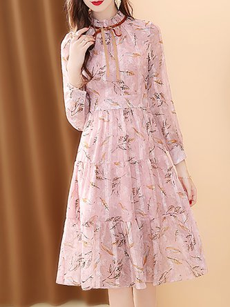 Ruffled Chiffon Pink A-Line Printed Holiday Midi Dress