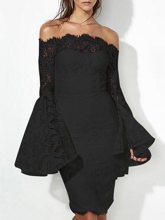 Off Shoulder Bell Sleeve Sheath Party Geometric Midi Dress