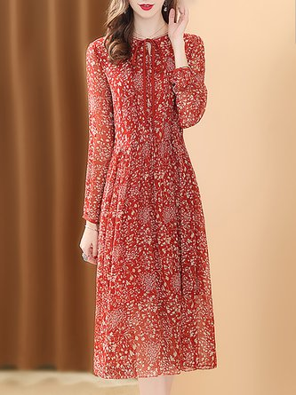 Printed Keyhole A-Line Daily Chiffon Midi Dress