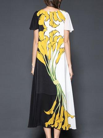 V Neck Black-White Floral Shift Beach Casual Midi Dress