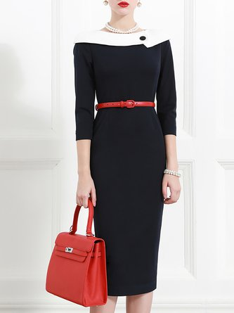 Black Elegant  Bodycon Date Paneled Solid Midi Dress