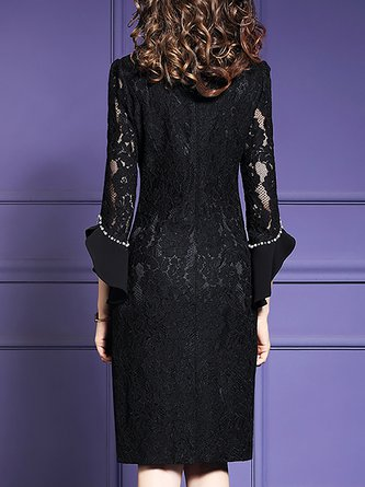 Frill Sleeve A-Line Cocktail Elegant Solid Mini Dress