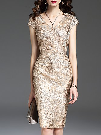 V Neck Apricot Embroidered Sheath Party Floral Midi Dress