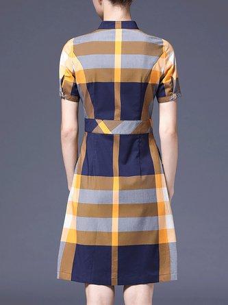Shirt Collar A-Line Daily Checkered/plaid Midi Dress
