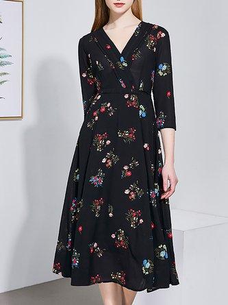 Pockets A-Line Daily Chiffon Printed Wrap Midi Dress