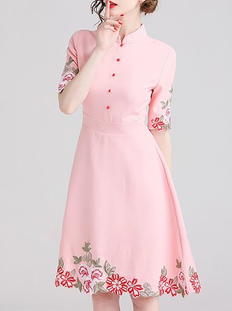 Embroidered Pink  A-Line Party Elegant Mini Dress