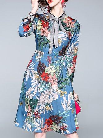 Printed Tie-Neck A-Line Casual Midi Dress