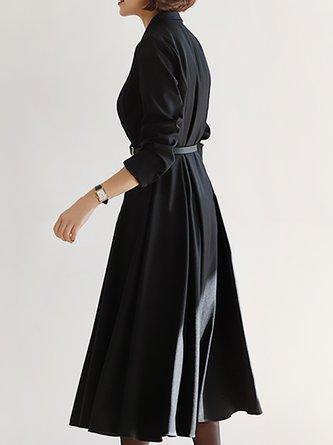 V Neck Black Paneled  Solid A-Line Date Midi Dress