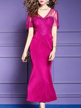 V Neck Short Sleeve Sheath Party Elegant Maxi Dress