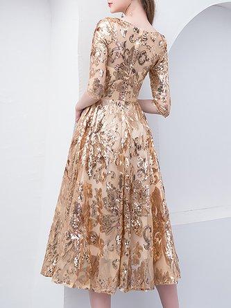 Sequins Elegant A-Line Evening Midi Dress