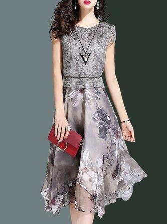 Floral-Print  A-Line Daytime Elegant Paneled Midi Dress