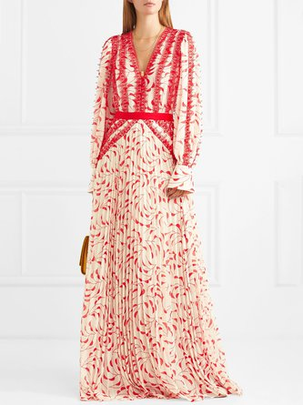 V Neck Red  Swing Daytime Guipure Lace Maxi Dress