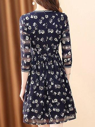 Chiffon Elegant A-Line Daily Printed Midi Dress