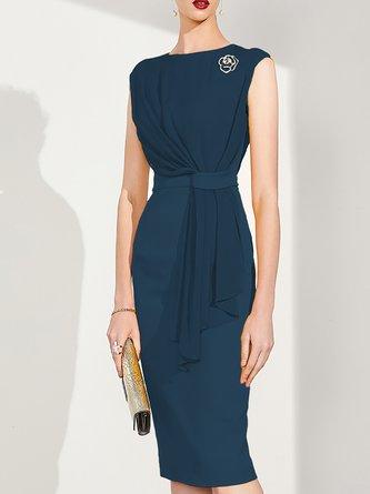 Elegant Sleeveless Bodycon Party Folds Solid Midi Dress