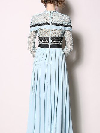 Stand Collar A-Line Statement Crochet-Trimmed Pleated Maxi Dress