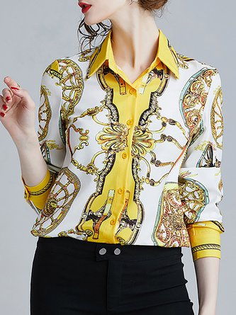 White-Yellow Shirt Collar Printed Shift Elegant Blouse
