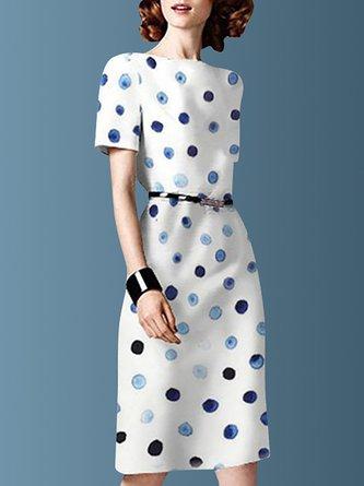 Bateau/boat Neck White Polka Dots Date Printed Midi Dress