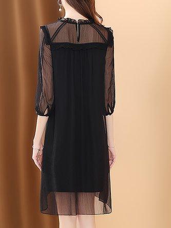 Ruffled Black A-Line Work See-Through Look Solid  Mini Dress