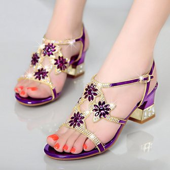 Rhinestone Flower Summer Holiday Open Toe Sandals