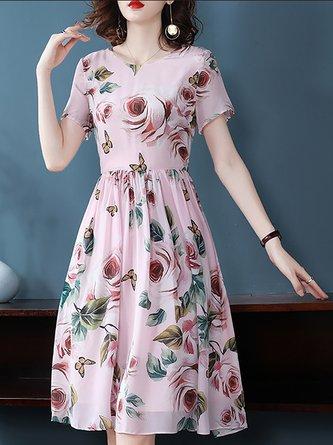 V Neck Pink Sweet  Date Boho Floral-Print Midi Dress