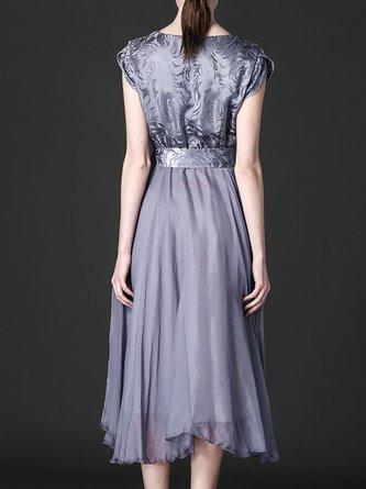 V Neck Elegant Short Sleeve A-Line Paneled Midi Dress
