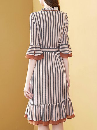 Striped Ruffled Bell Sleeve A-Line Daily Midi Dress