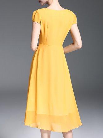 Yellow Casual Chiffon Swing Daytime Paneled Midi Dress