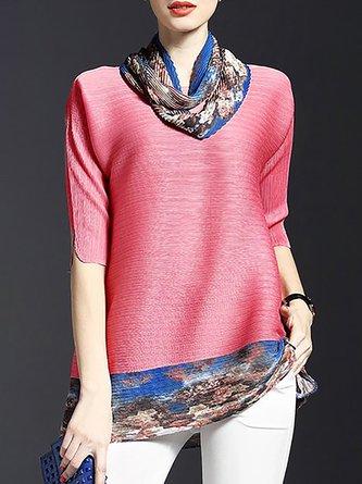 Half Sleeve V Neck Floral A-Line Elegant Pleated Tunic
