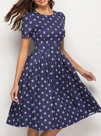 A-Line Daily Zipper Printed Midi Dress
