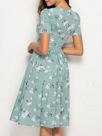 Zipper A-Line Daily Printed Midi Dress