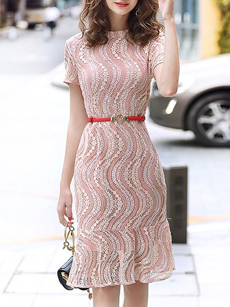 d36db5c484 Pink Mermaid Lace Daytime Elegant Midi Dress