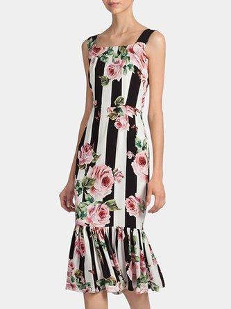 White-Black Mermaid Daily Stripes Floral-Print Midi Dress