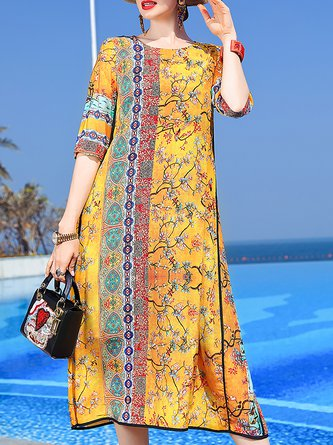 Summer Printed Shift Holiday Midi Dress