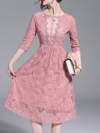 42c4251a92 Pink A-Line Elegant Lace Solid Midi Dress