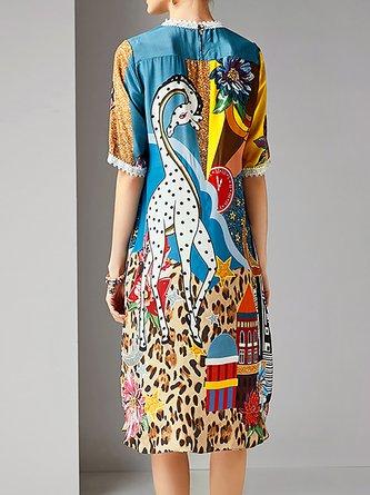 Multicolor A-Line Date Abstract Midi Dress