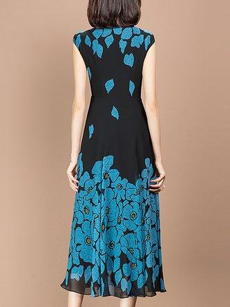 V Neck Black-Blue A-Line Date Elegant Floral Midi Dress