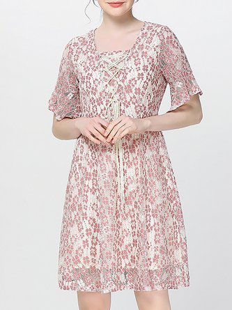 89904cf67c Pink A-Line Daily Guipure Lace Midi Dress
