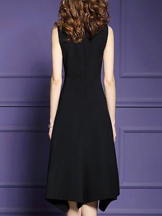 Date Asymmetric Solid Midi Dress