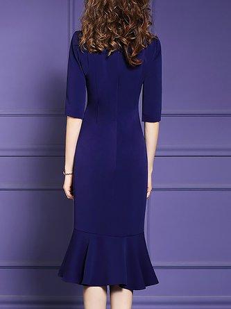 Navy Blue Half Sleeve Mermaid Elegant Floral Midi Dress