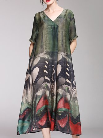 V Neck Shift Date Abstract Maxi Dress