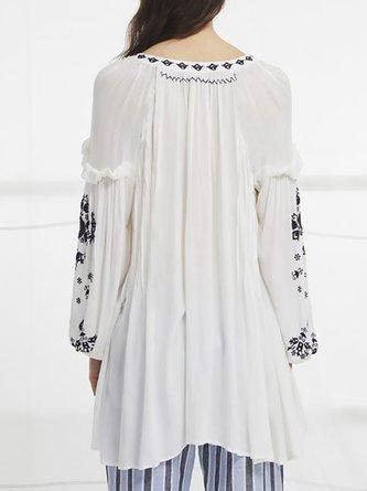 V Neck White Boho Gathered Floral-Embroidere Tunic
