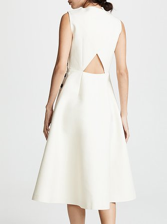 White A-Line Daily Cutout Buttoned Solid Midi Dress