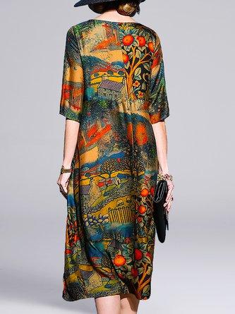 Printed Pockets Shift Daily Casual Midi Dress