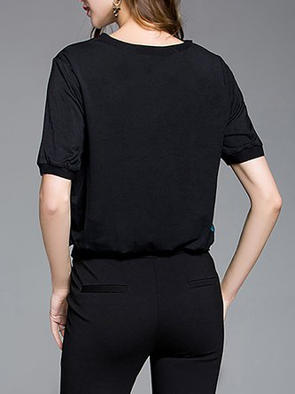 Black Polka Dots Crew Neck T-Shirt
