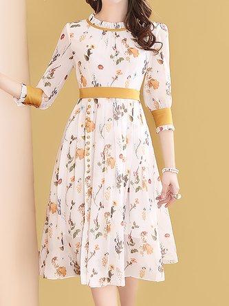 Ruffled White  Date Floral Midi Dress