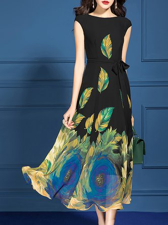 Sleeveless Floral A-Line Date Elegant Midi Dress
