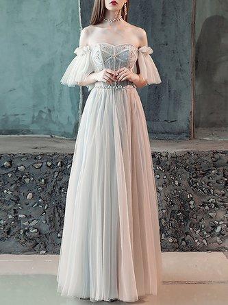 6673f6f20b04 Horizontal Neck A-Line Evening Formal Maxi Dress