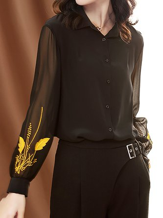 Black Embroidered See-Through Look Elegant Blouse